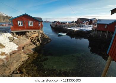 Å i Lofoten, Norway - March 2018: Traditional Norwegian House in Å i Lofoten, Lofoten Islands
