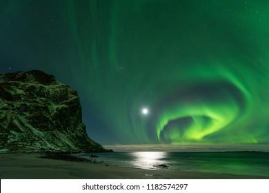 Lofoten Utakleiv aurora borealis, Norway
