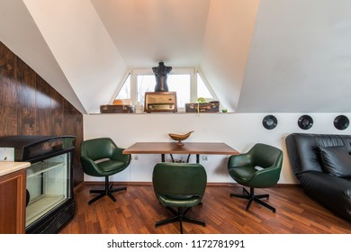 Loft apartment interior , dining table