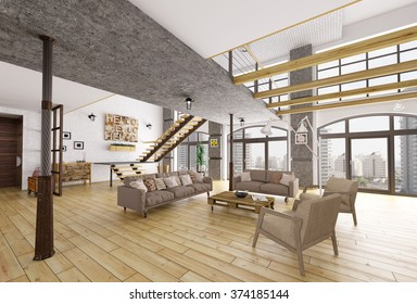 Loft apartment interior, living room, staircase 3d rendering