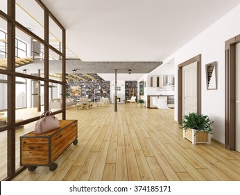 Loft apartment interior, living room, kitchen, hall 3d rendering