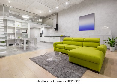 Loft apartment with mezzanine, green sofa, kitchenette and brick ceiling