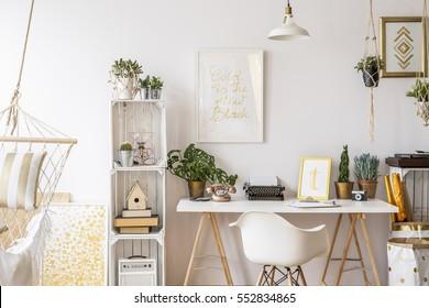 Loft apartment with stylish gold decorations