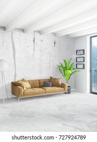 Loft bedroom in modern style interior design with eclectic wall and stylish sofa. 3D Rendering.