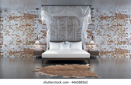 Loft bedroom and red brick wall