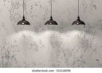 Loft industrial wire pendant lamps against rough wall