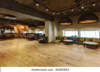 Loft interior design, wooden floor