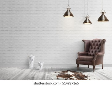 Loft interior with white brick wall and leather armchair