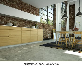 loft kitchen in open space with a brick wall.3d rendering