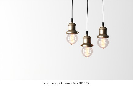 Loft pendant lamps with edison light bulbs. 3d rendering.