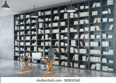 Loft private office with big book case, glassy table and concrete floor, 3D render