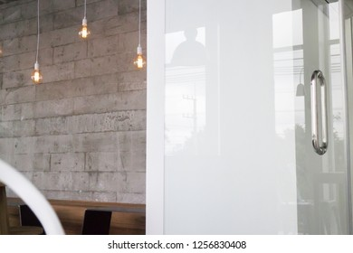 Loft room cafe with coworking space, stock photo