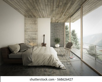 Loft Style Bedroom Interior Design. 3D Rendering.