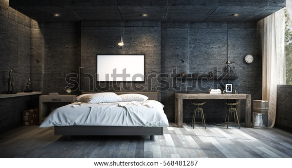 Loft Style Bedroom Interior Design with Mock up Picture Frame. 3D Rendering