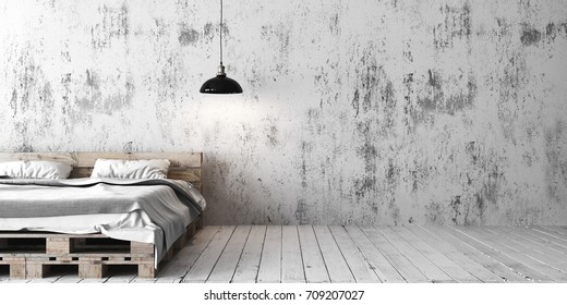 A loft style bedroom with recycled pallet bed. White eco design scheme is bright and minimalistic. 3D render.