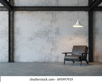 Loft Style Living Room 3d Rendering Image.There Are White Brick Wall,polished  Concrete