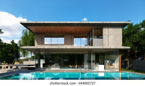 loft style modern house swimming pool - 3d rendering
