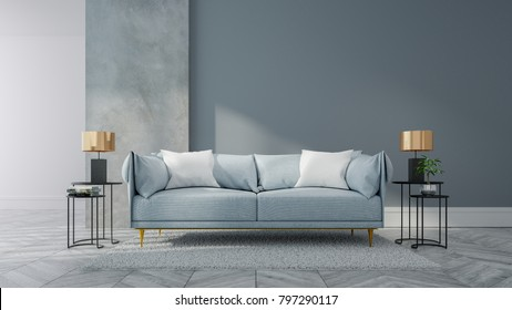 Loft and vintage interior of living room, Blue sofa on white flooring and blue wall  ,3d rendering