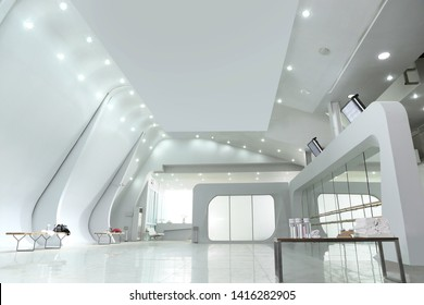 a loft white fitness studio from point of view to see the ceiling and down light