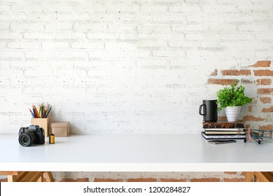 Loft workspace with accessories and copy space.