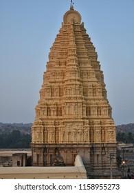 """Lofty 160 feet high Eastern Tower of Virupaksha Temple complex, Hampi, Karnataka"""