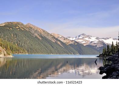 Lofty mountains by a lake