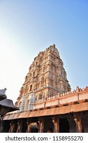 """Lofty Northern tower of Virupaksha Temple complex, Hampi, Karnataka"""