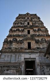 """Lofty view of the North Gopura (Tower) of Virupaksha Temple complex - Hampi, Karnataka."""