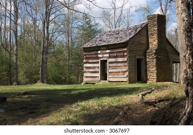 Log Cabin in Clearing in the Great Smoky Mountain National Park