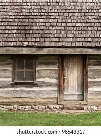 Log cabin door and window