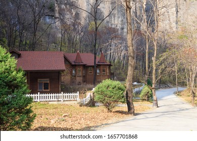 A log cabin in a forest