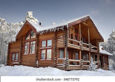 Log Cabin With Large Windows Balcony And Porch Modern House Design Snowy Winter