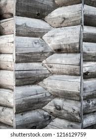 Log cabin notch. Design of corner notching system