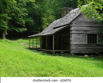 A log cabin on an old farm deep in the Great Smoky Mountains National Park.