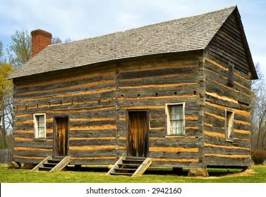 log cabin, recreation of birthplace of  US President James K. Polk, near Charlotte, North Carolina