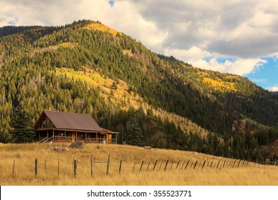 Log cabin in the Rocky Mountains, Utah, USA.