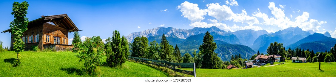 log cabin at the wetterstein mountains - bavaria