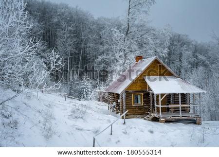 Log Cabin Winter Woods Stockfoto Jetzt Bearbeiten 180555314