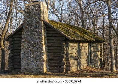 Log cabin in the woods. Matthiessen State Park, Utica, Illinois.