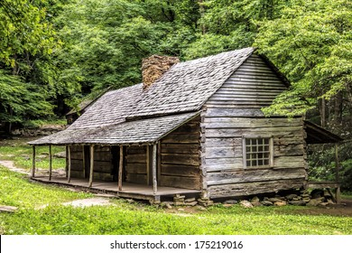 """A log cabin in the woods. The Noah """"Bud"""" Ogle Place was a homestead located in the Great Smoky Mountains Park near Gatlinburg, Tennessee."""