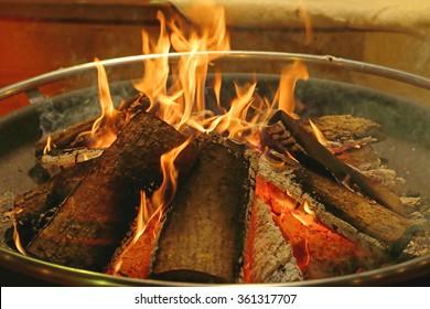 Log Fire in Circular Metal Firepit Tray