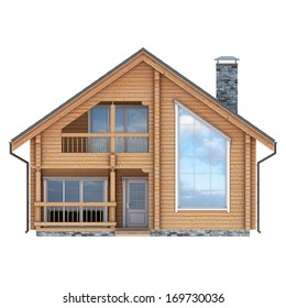 log house facade on white background