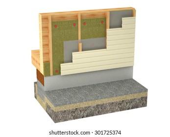 log house insulation isolated on white background