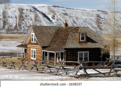 Log House on National Elk Refuge in Wyoming, USA