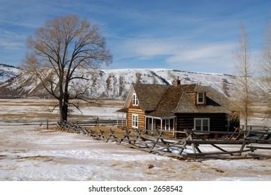 Log House on National Elk Refuge in Wyoming