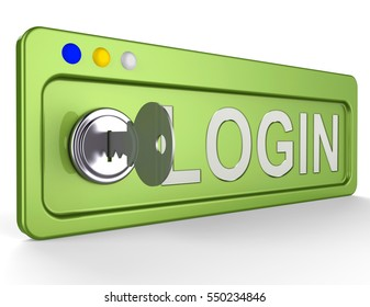 Log In Lock And Key Shows Signin Signing In 3d Illustration