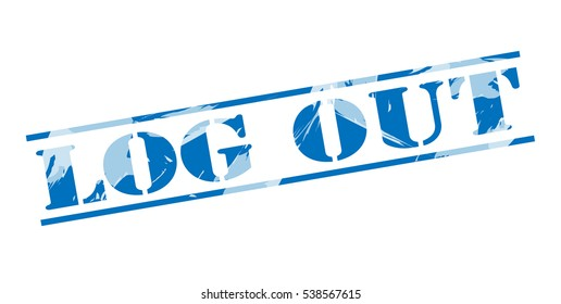 log out blue stamp on white background