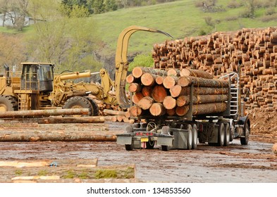 A log truck delivers a load of logs to the log yard at a lumber processing mill that specializes in small logs