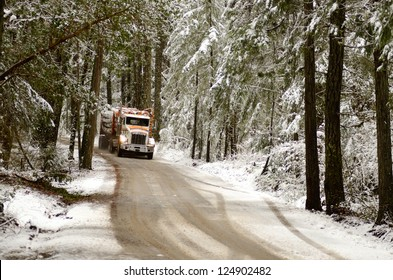 A log truck emerges from the snowy southern Oregon forest with a load of logs destined for the lumber mill