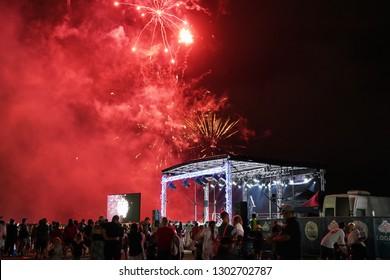 Logan City, Queensland / Australia - December 15 2018: Fireworks Show at the City of Logan Christmas Carols